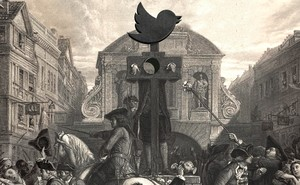 Eighteenth-century public square with pillory crowned by the Twitter logo and surrounded by a crowd