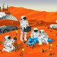 Officers in space suits surround a crime scene on an illustrated Mars