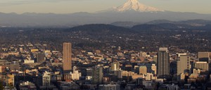Portland, Oregon, with Mount Hood in the background.