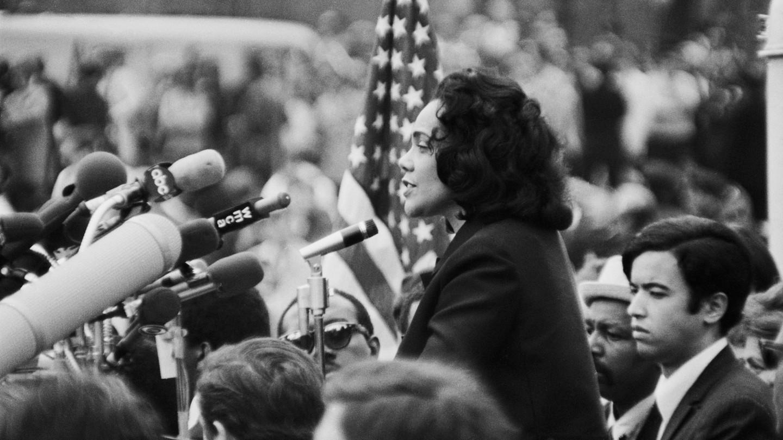 Coretta Scott King speaking at anti-war rally, Central Park