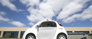A Google driverless car is pictured.