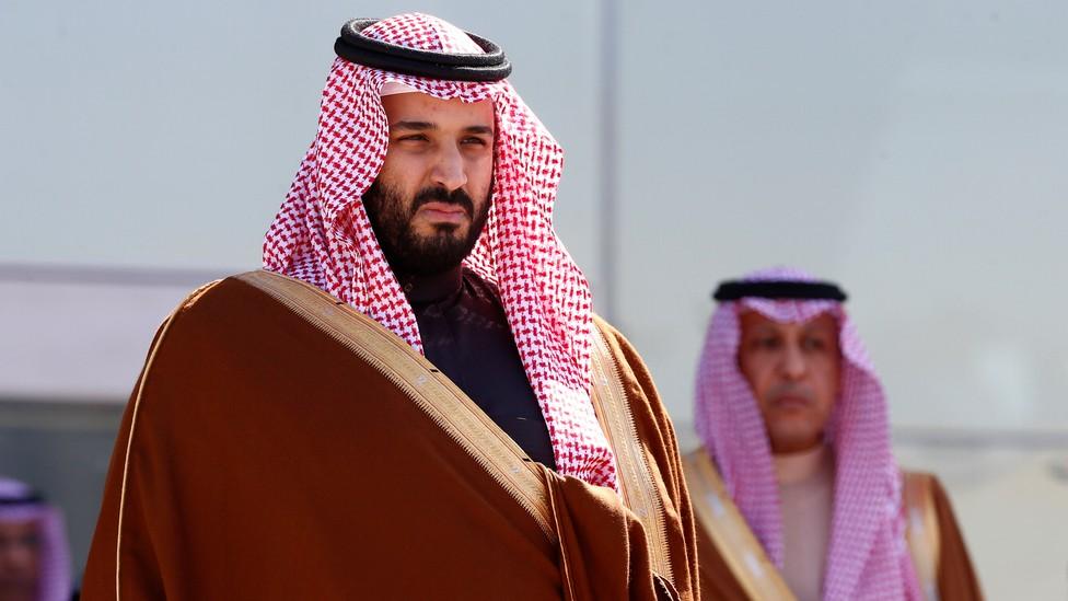 The Saudi Crown Prince Mohammed bin Salman stands alone.