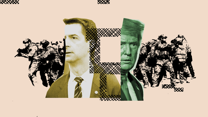 An illustration of Tom Cotton, President Trump, and the U.S. military