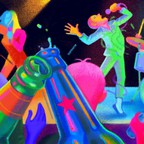 Illustration of a band on a neon-lit stage with audience members clinking beers