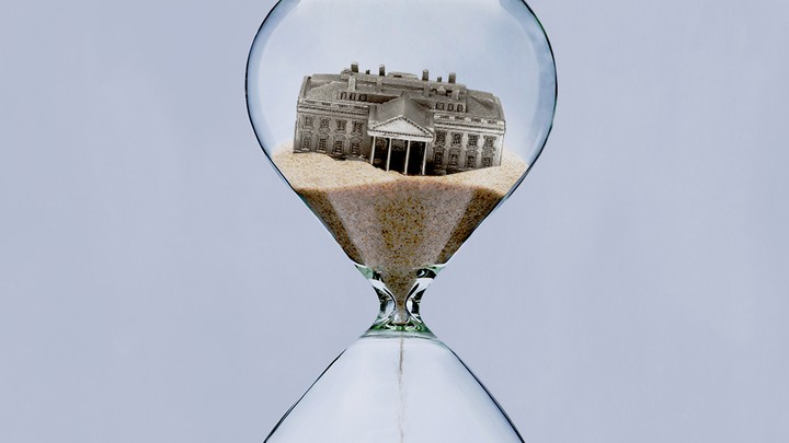 An illustration of an hourglass with the White House in the top part.
