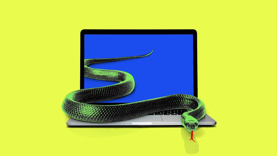 Art of a snake crawling out of a laptop