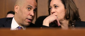 A photo of U.S. senators and 2020 Democratic Party hopefuls Cory Booker and Kamala Harris
