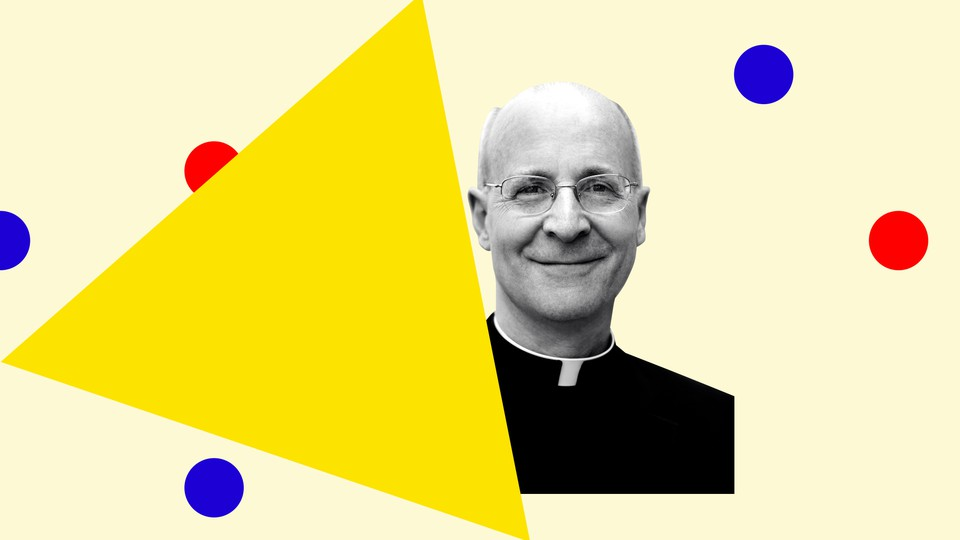 Father James Martin in black-and-white with colorful geometric shapes around him