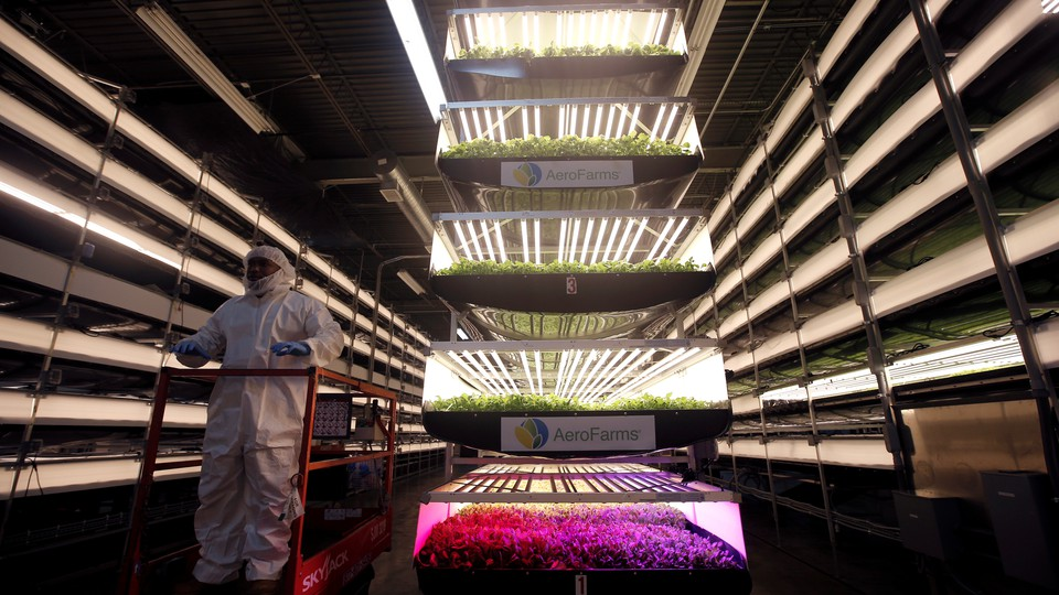 A worker rides a lift past stacks of vertical farming beds with LED lights