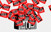 """An illustration of a house covered in """"Sold"""" signs"""