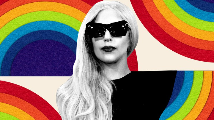 A black-and-white cutout of Lady Gaga against a rainbow-filled background