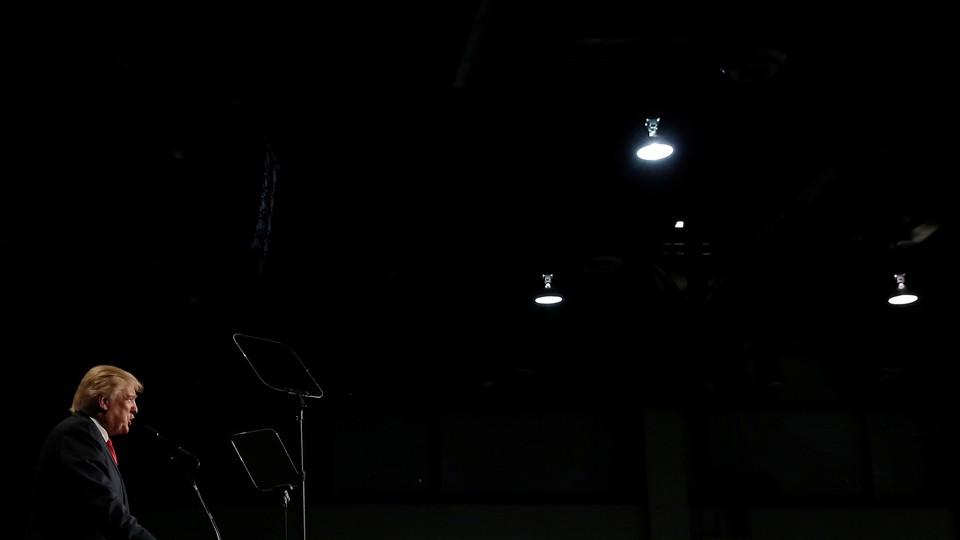 Republican presidential nominee Donald Trump speaks at a campaign rally in Reno, Nevada.