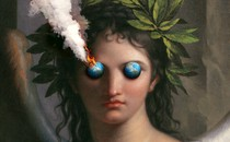 An illustration of an ancient Greek figure with globes for eyes, one of which is on fire and smoking