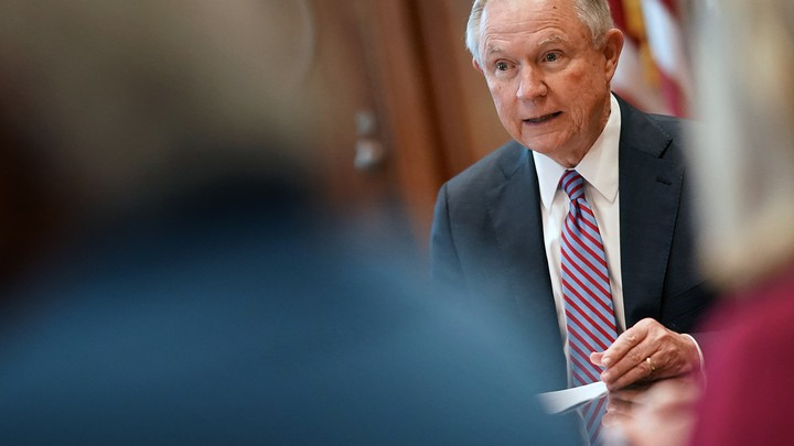 Attorney General Jeff Sessions speaks at a Justice Department meeting.