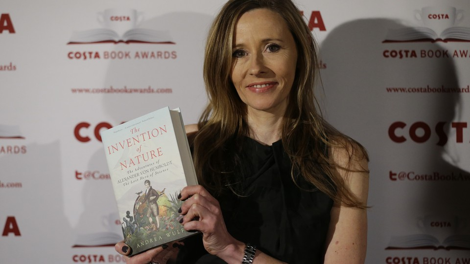 Andrea Wulf poses with her book at the Costa Book Awards, where it won first place.