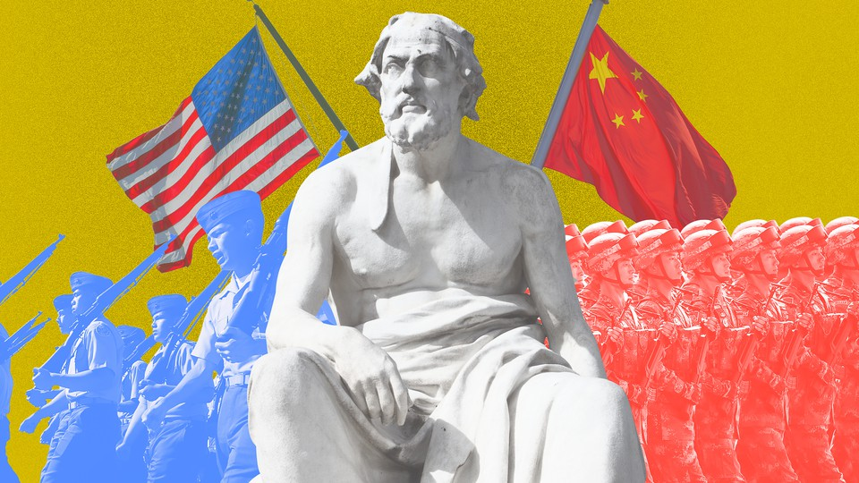 Artwork depicting a statue of Thucydides, flanked by an American army on one side and by a Chinese army on the other.