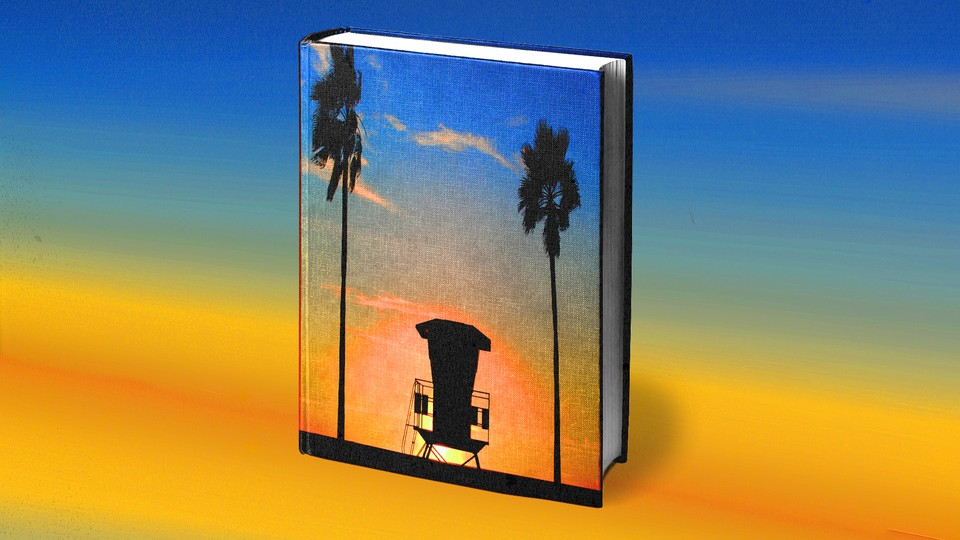 Art of a book cover featuring a beach sunset scene