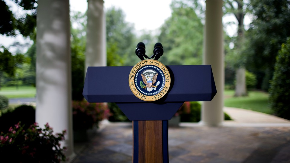 Photo of an empty presidential podium outside the Oval Office at the White House