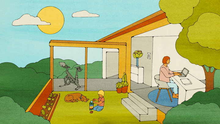 An illustration of a house with a workspace, an outdoor area, and a home gym