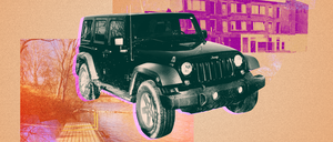 An illustration of a Jeep and scenes from Youngstown, Ohio.