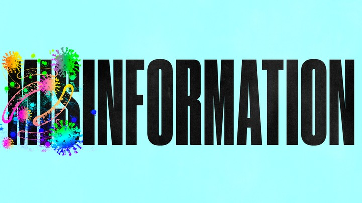 "The word ""misinformation"" is set against a blue background, and ""mis"" is covered with rainbow illustrations of a virus."