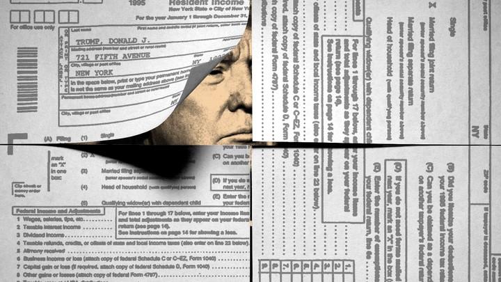 Donald Trump peeking through disclosure documents