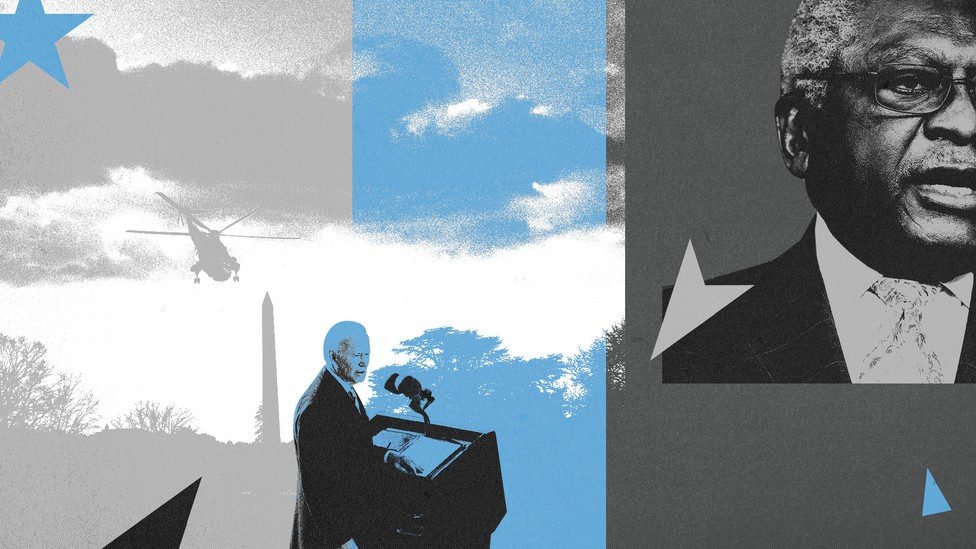 a collage of President Joe Biden and Congressman Jim Clyburn