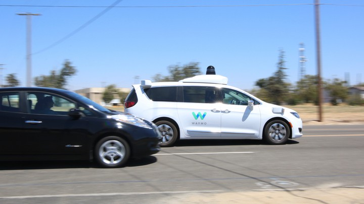 A Waymo self-driving car at the company's Castle test track