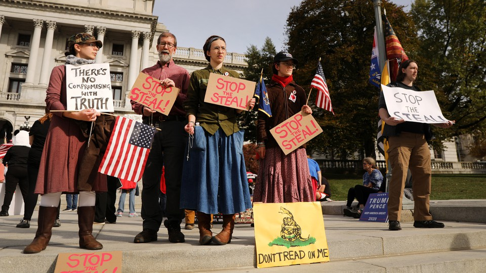 Protestors at a 'Stop the Steal' rally