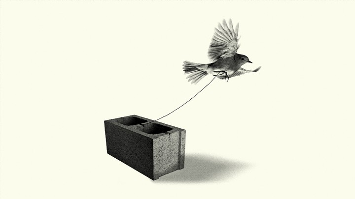 A bird tied to a brick attempts to fly away