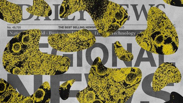 A newspaper covered in yellow splotches