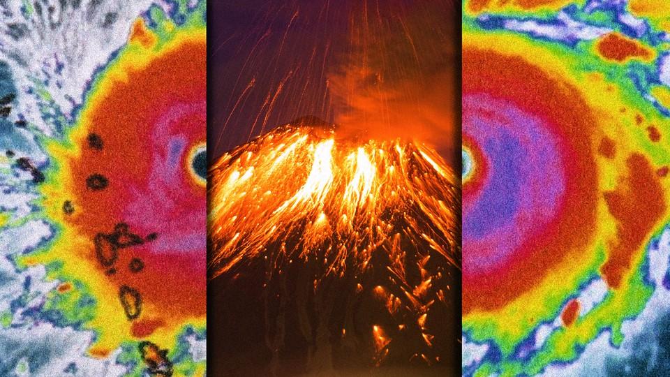 A radar image of a hurricane alongside an erupting volcano
