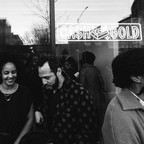 Visitors gather outside the We Buy Gold gallery in Bed-Stuy, Brooklyn