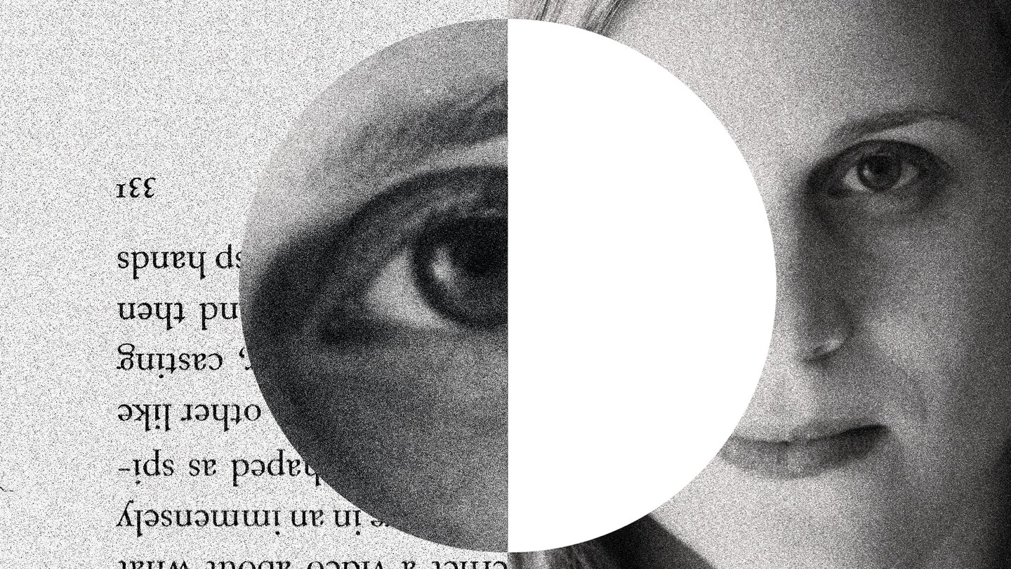 A split black-and-white image of text from a book and Lauren Groff's face, with Groff's eye superimposed in the center