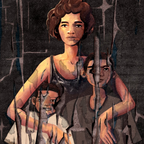 An illustration of a woman and two boys