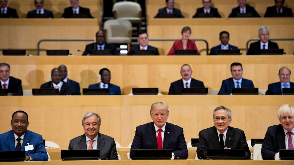 UN Secretary-General Antonio Guterres, U.S. President Donald Trump, and others at the United Nations.