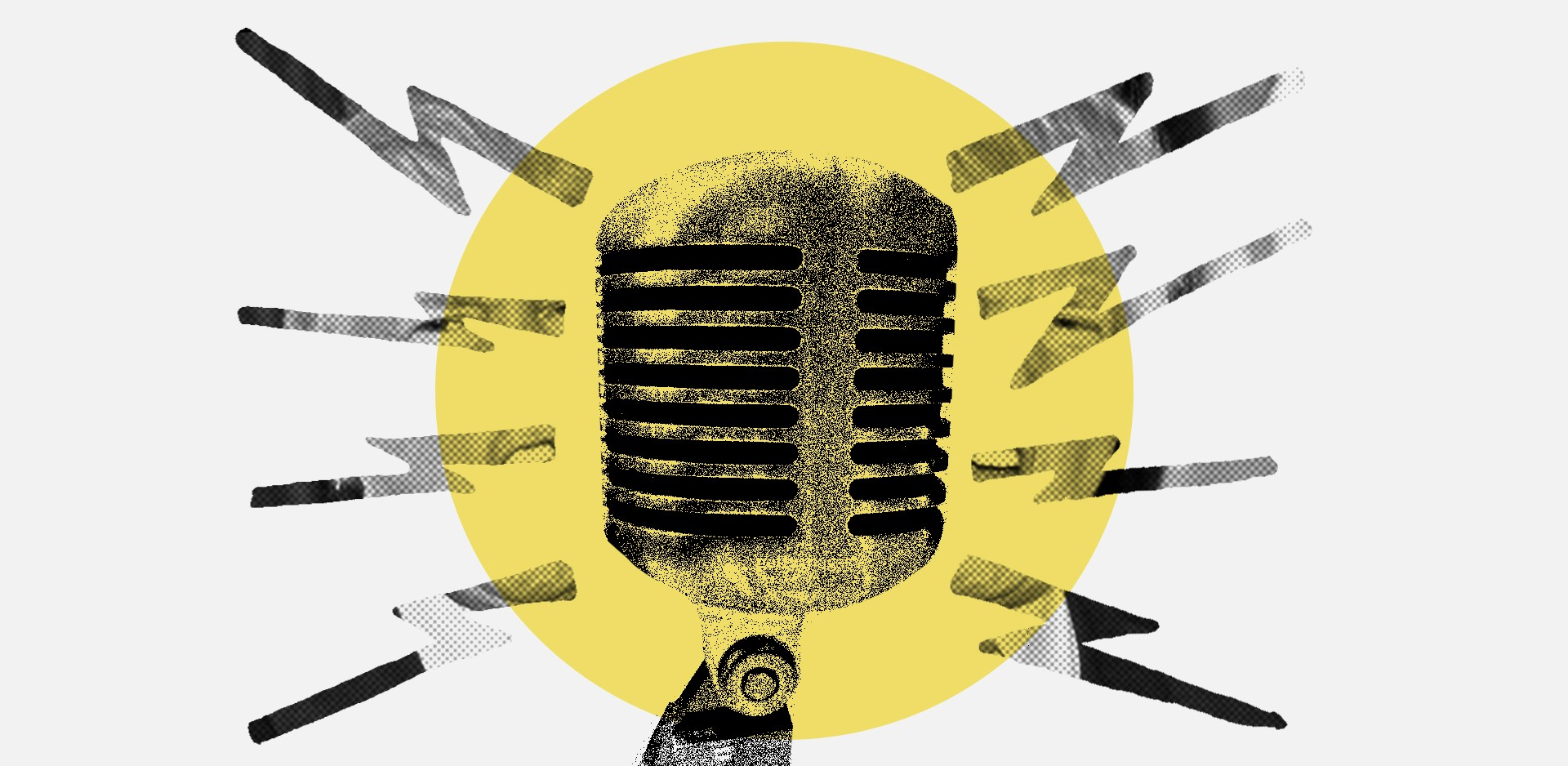 A radio microphone emitting radio waves in Trump's likeness