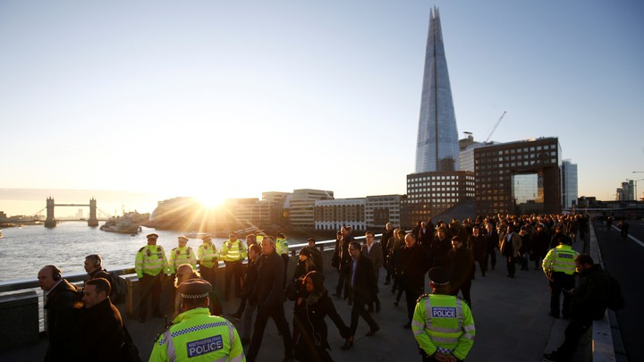 Londoners cross London Bridge after a 2019 terrorist attack.