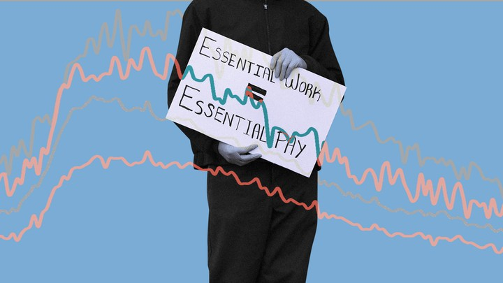 "An illustration of a person holding a sign that reads ""Essential work = essentiality"""
