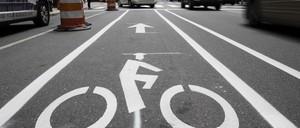 A photo of a bike lane in Philadelphia