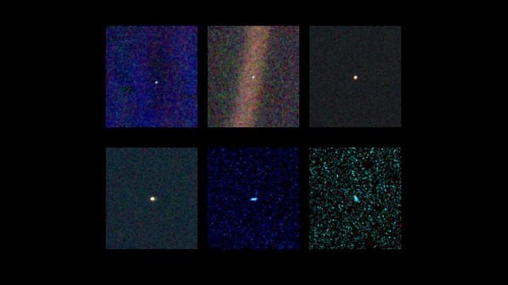 Neptune, Uranus, Saturn, Jupiter, Venus, and Earth, as seen by Voyager 1