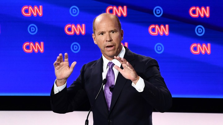 Senator John Delaney speaks onstage at the second Democratic debate.