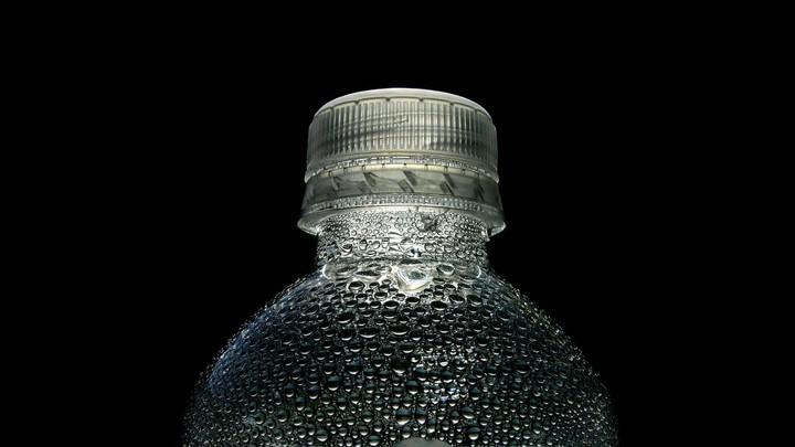 A plastic bottle of water