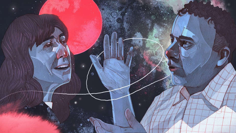 An illustration of a man and woman debating, with space in the background