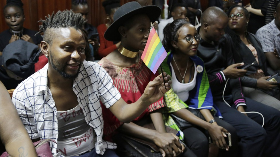 LGBTQ activists attend a court hearing in Nairobi in February.