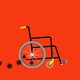 An illustration showing viruses trailing a wheelchair