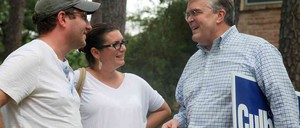Ahead of the midterms, Representative John Culberson talks to local residents while campaigning on foot in Houston.