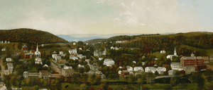 """Sarah E. Harvey's painting of """"Winsted, Connecticut,"""" showing homes and buildings among green hills"""