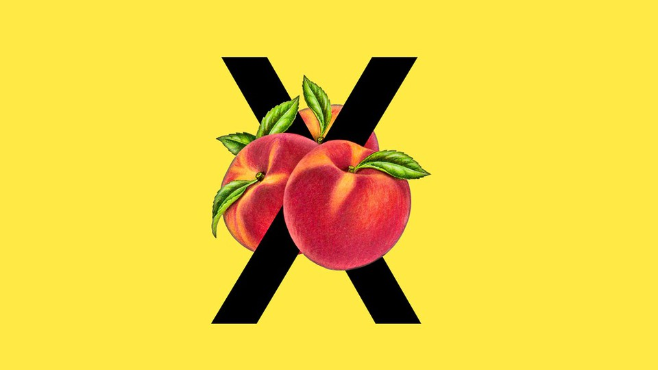 An illustration of an X with peaches.