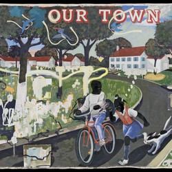 A Kerry James Marshall painting of two Black children coming down a road, one on a bike and the other on foot